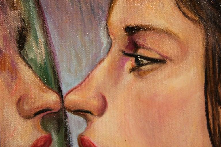 """""""Practice Kiss"""" Pastel Contemporary Surrealist Figurative Portrait of a Woman For Sale 2"""