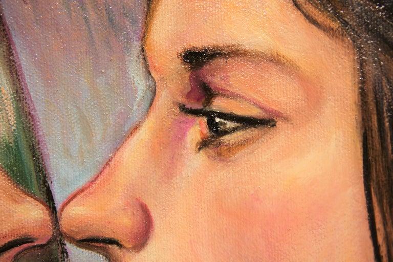 """""""Practice Kiss"""" Pastel Contemporary Surrealist Figurative Portrait of a Woman For Sale 4"""