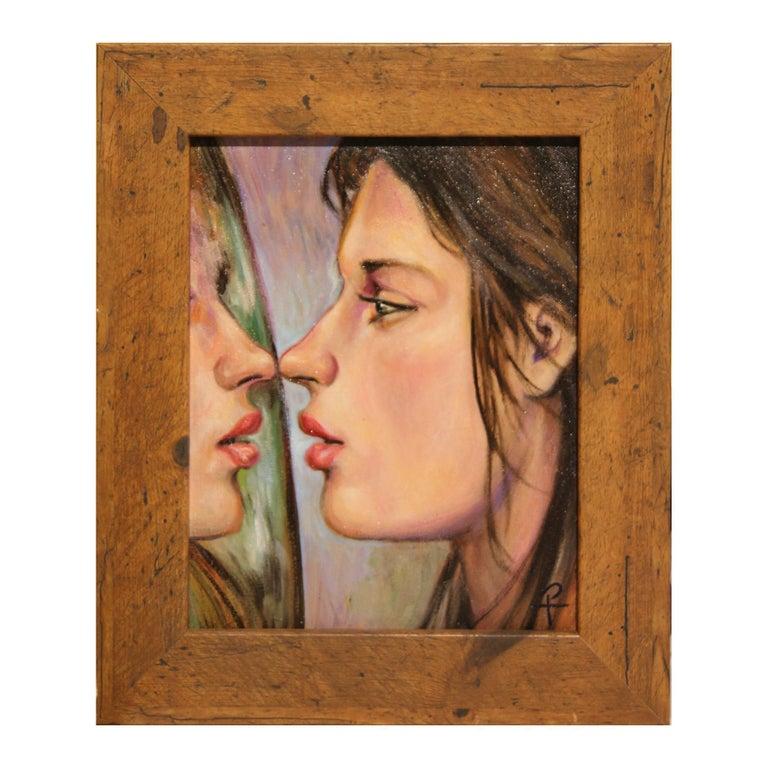 "Henry David Potwin Figurative Painting - ""Practice Kiss"" Pastel Contemporary Surrealist Figurative Portrait of a Woman"