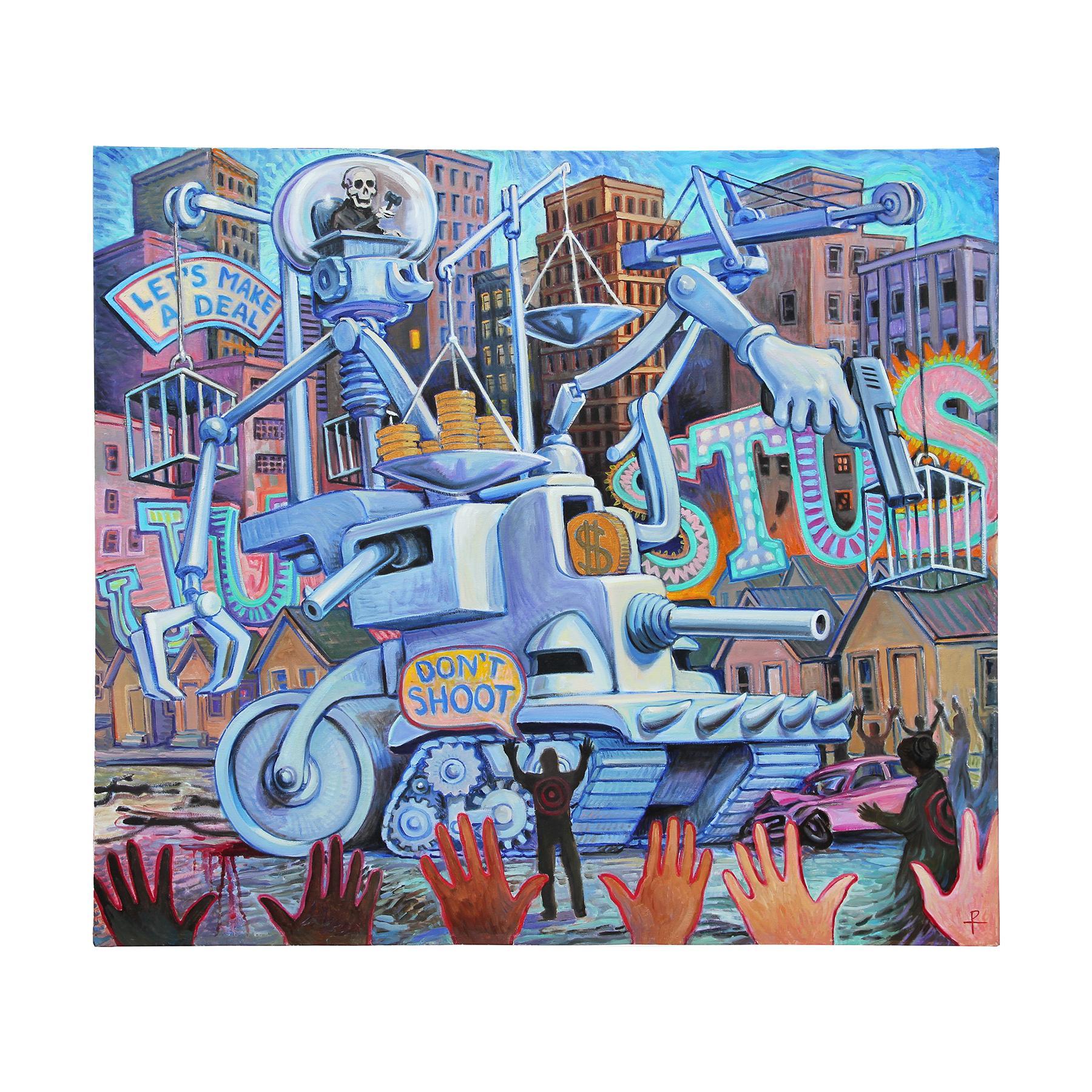 """Shakedown"" Soft Hued Contemporary Surrealistic Figurative Painting"