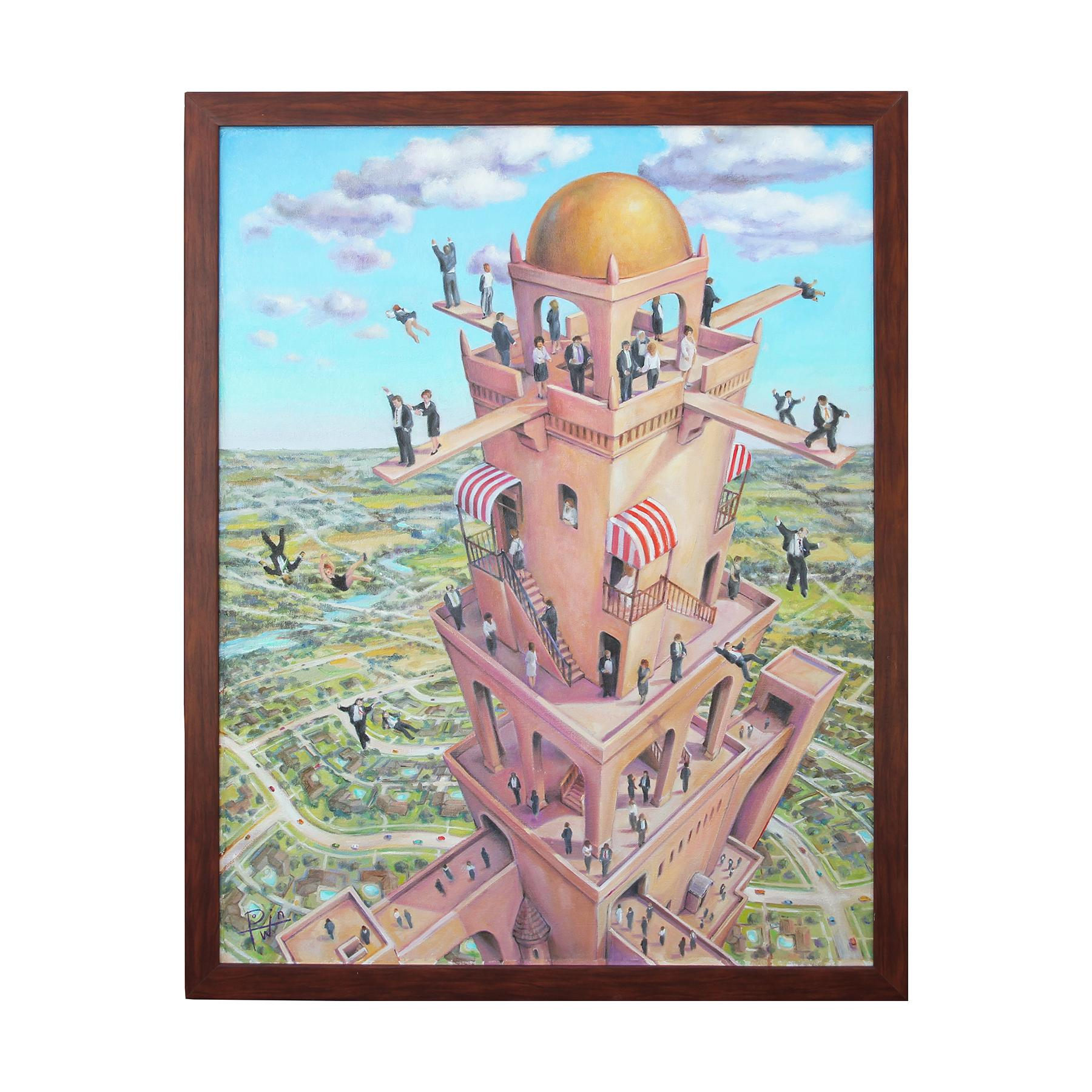 """""""Tower of Babbit"""" Pastel Contemporary Surrealist Landscape Painting"""