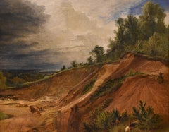 """Oil Painting by Henry Dawson """"Chertsey Quarry"""""""