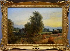 The Harvest - 19th Century English Summer Sunset Landscape Oil Painting