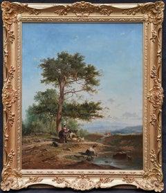 Women in a Landscape - British Victorian art figurative landscape oil painting