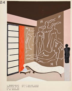 Pochoir of a Living Room with Matisse Style Mural