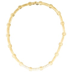 Henry Dunay 18 Karat Bamboo Link Necklace with 1.95 Carat Round Diamond Accents