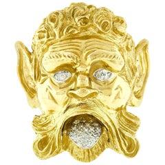 Henry Dunay 18 Karat Gold Greek God Poseidon Mythology Round Diamond Brooch