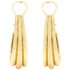 Henry Dunay 18 Karat Hoop Shrimp Style Earrings