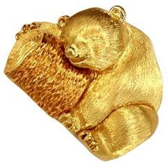 Henry Dunay 18 Karat Zweifarbige Gold Bär Brosche