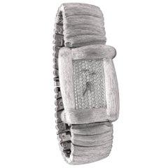 Henry Dunay 18 Karat White Gold Brushed Matte Finish Diamond Wrist Watch