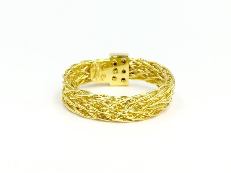 Henry Dunay 18 Karat Woven Ring with .10 Carat Total Weight In Excellent Condition For Sale In Pikesville, MD