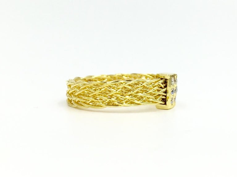 Women's Henry Dunay 18 Karat Woven Ring with .10 Carat Total Weight For Sale