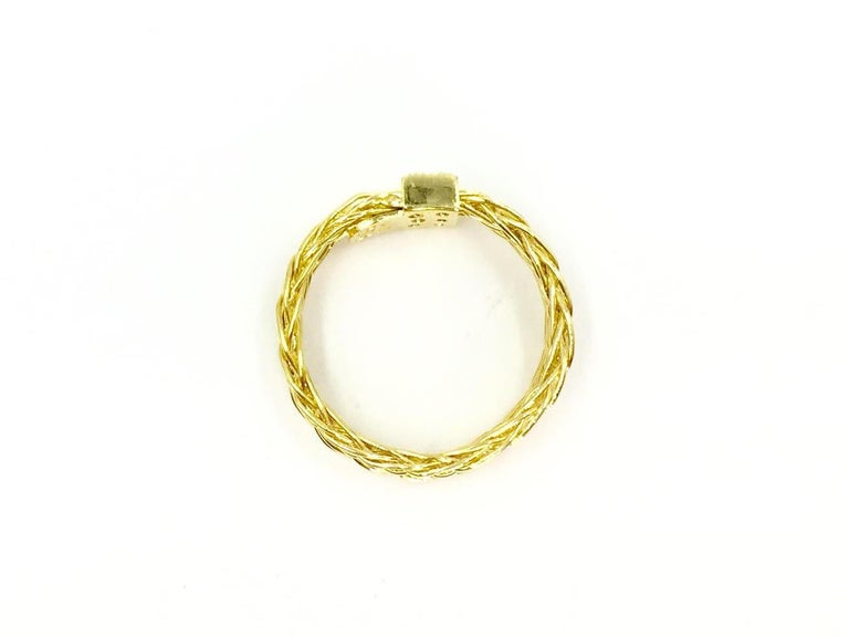 Henry Dunay 18 Karat Woven Ring with .10 Carat Total Weight For Sale 1