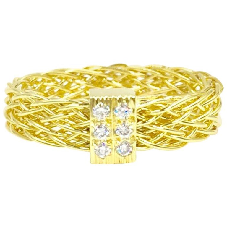 Henry Dunay 18 Karat Woven Ring with .10 Carat Total Weight For Sale