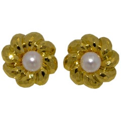 Henry Dunay 18 Karat Yellow Faceted Gold Earring Jackets with Pearl Studs