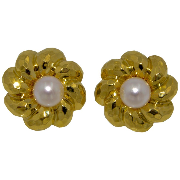 Henry Dunay 18 Karat Yellow Faceted Gold Earring Jackets With Pearl Studs For