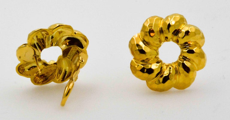 Modern Henry Dunay 18 Karat Yellow Faceted Gold Earrings For Sale