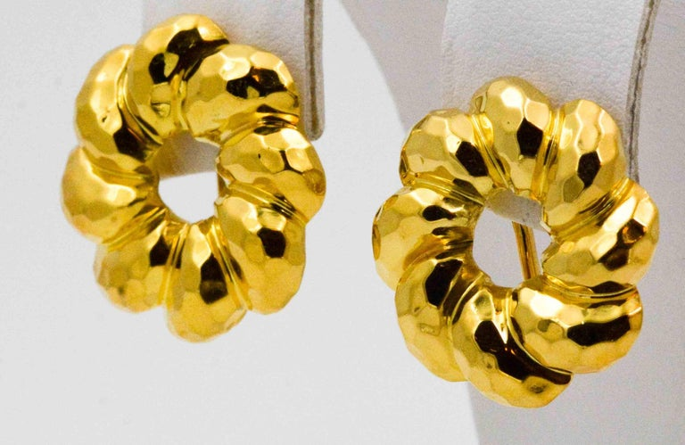 Henry Dunay 18 Karat Yellow Faceted Gold Earring Jackets For Sale 1