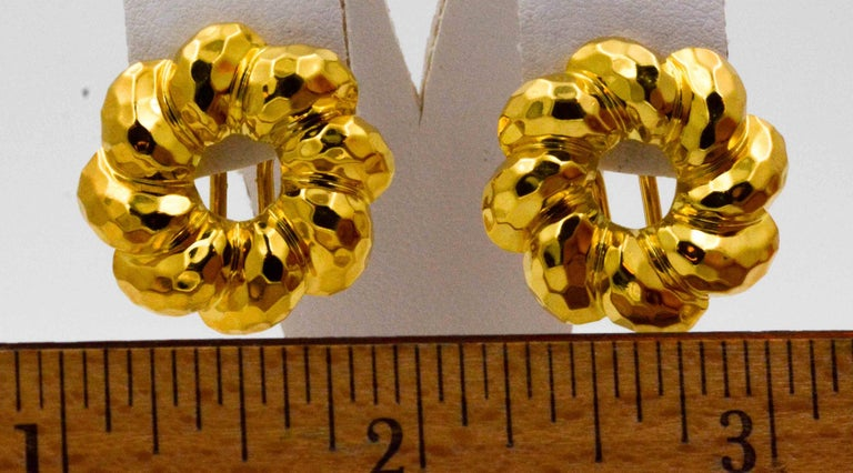 Henry Dunay 18 Karat Yellow Faceted Gold Earring Jackets For Sale 2