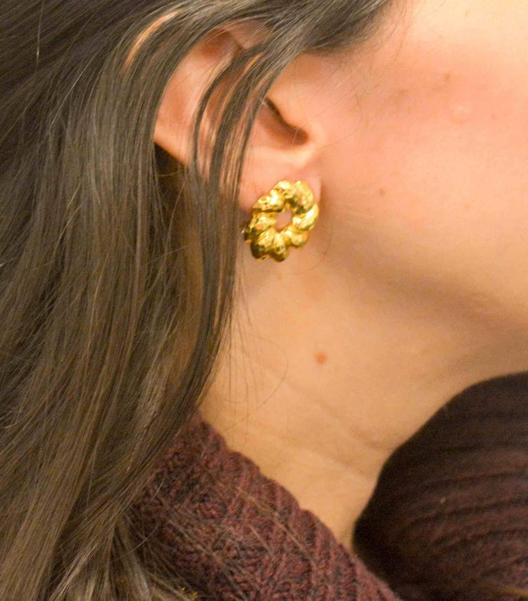 Henry Dunay 18 Karat Yellow Faceted Gold Earring Jackets For Sale 3