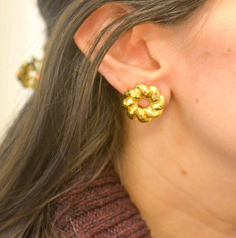 Henry Dunay 18 Karat Yellow Faceted Gold Earring Jackets For Sale 4