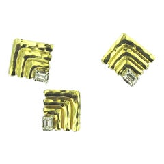 Henry Dunay 18 Karat Yellow Gold and Platinum Diamond Earrings and Matching Pin