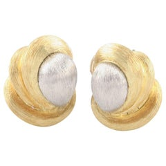 Henry Dunay 18 Karat Yellow Gold and Platinum Sabi Textured Huggie Knot Earrings