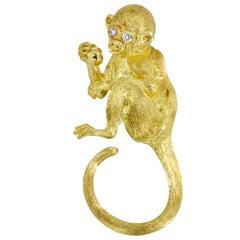 Henry Dunay 18 Karat Yellow Gold Diamond Monkey Brooch