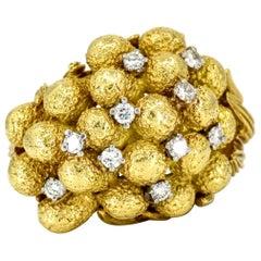 Henry Dunay 18 Karat Yellow Gold Diamond Statement Ring