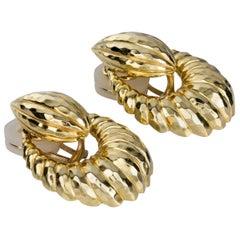 Henry Dunay 18 Karat Yellow Gold Door-Knocker Drop Earrings