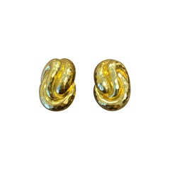 Henry Dunay 18 Karat Yellow Gold Faceted Earclips