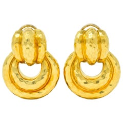 Henry Dunay 18 Karat Yellow Gold Fashionable Door Knocker Earrings