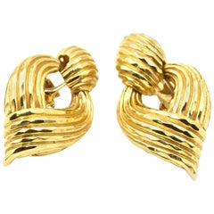 Henry Dunay 18 Karat Yellow Gold Fluted Door Knocker Earrings