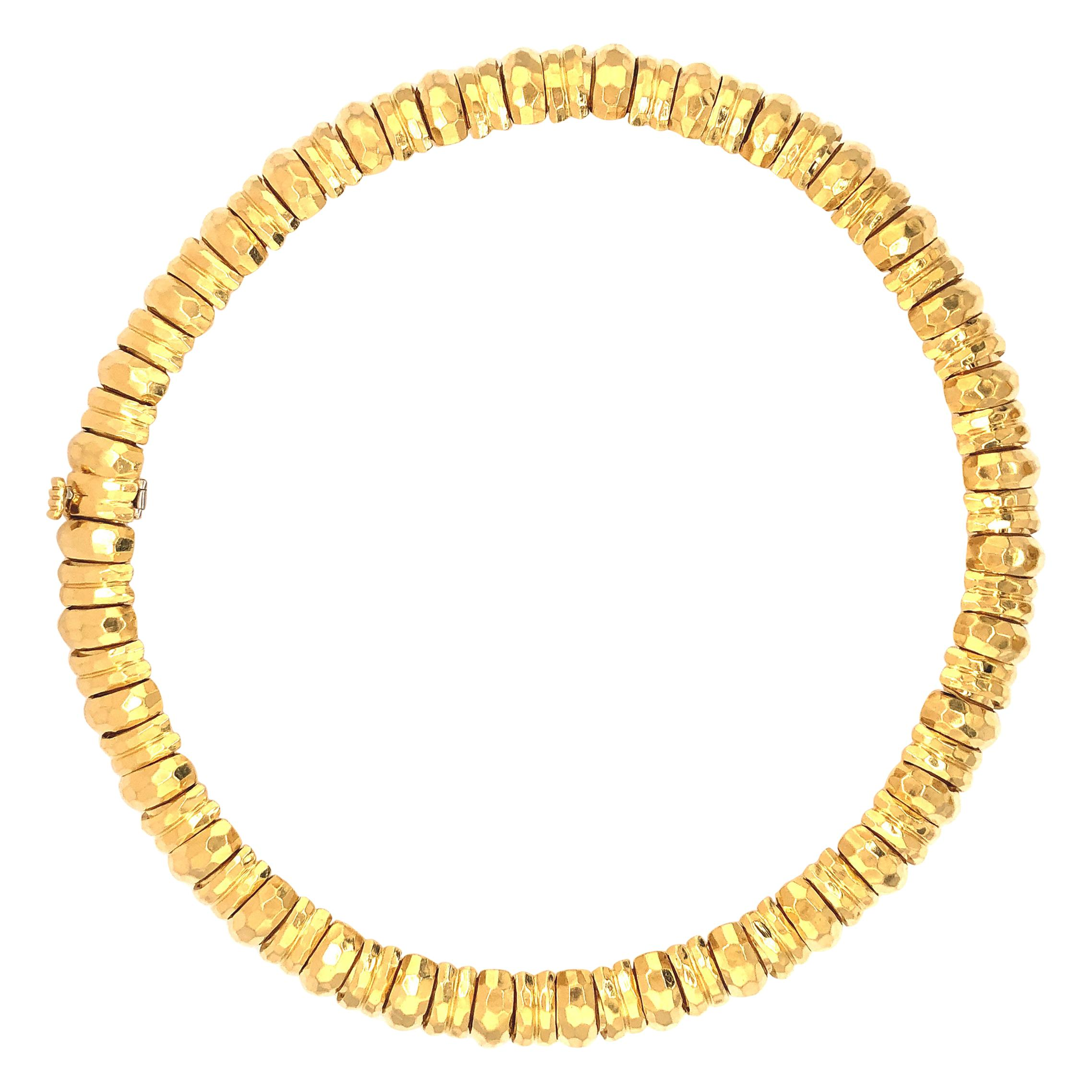 Henry Dunay 18 Karat Yellow Gold Hammer Finished Necklace