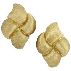"Henry Dunay 18 Karat Yellow Gold ""Sabi"" Collection Ear Clip Earrings"