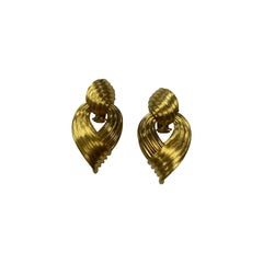 Henry Dunay 18 Karat Yellow Gold Sabi Finish Clip-On Drop Earrings