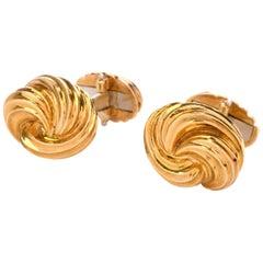 Henry Dunay 18 Karat Yellow Gold Swirl Men's Cufflinks