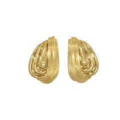 Henry Dunay 18 Karat Yellow Lever Post Gold Swirl Earrings