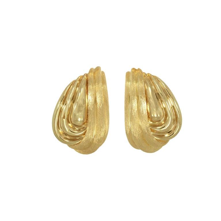 Henry Dunay 18 Karat Yellow Lever Post Gold Swirl Earrings For Sale