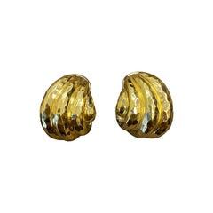 Henry Dunay 18K Yellow Gold Earclips