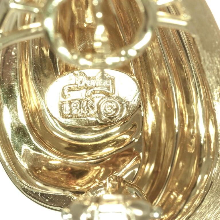 Henry Dunay 18 Karat Yellow Lever Post Gold Swirl Earrings For Sale 2