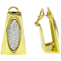 Henry Dunay 3.00 Carat Diamond 18 Karat Yellow Gold Earrings