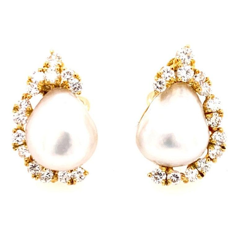 Modern Henry Dunay Baroque Pearl Diamond Earrings Ear Clips