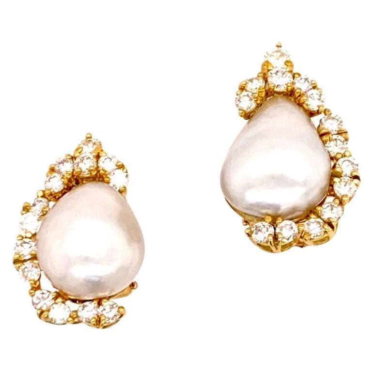 Henry Dunay Baroque Pearl Diamond Earrings Ear Clips