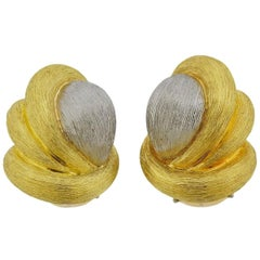 Henry Dunay Brushed Two-Tone Gold Earrings