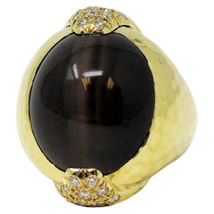 Henry Dunay Cabochon Cat's Eye Sillimanite and Diamond Dome Ring 18 Karat