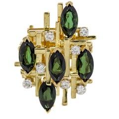 Henry Dunay Chrome Tourmaline and Diamond 18 Karat Yellow Gold Cocktail Ring