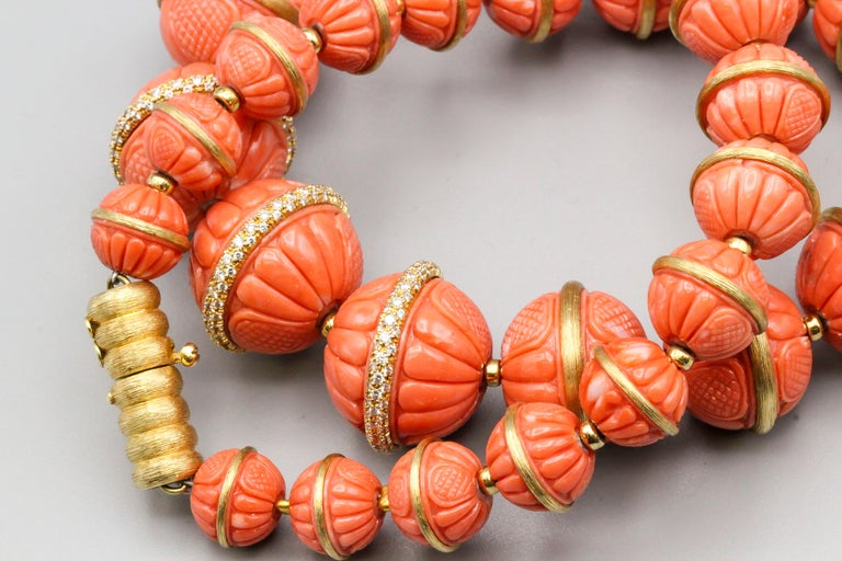 Women's Henry Dunay Coral Diamond and 18 Karat Gold Necklace