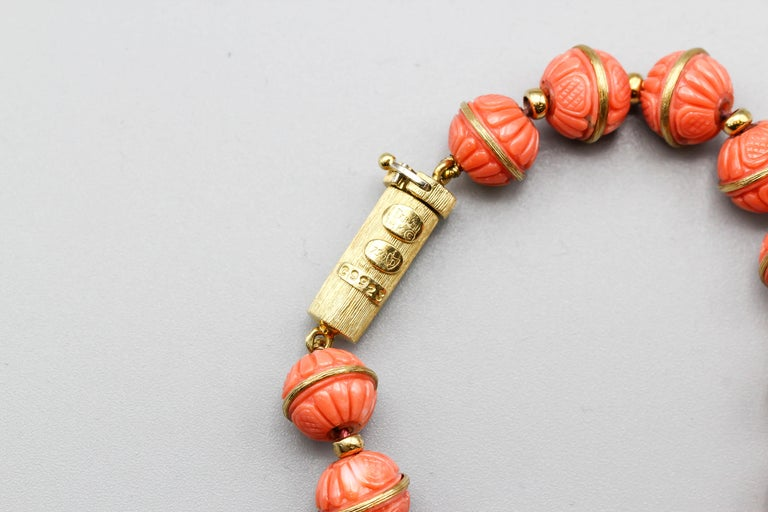 Henry Dunay Coral Diamond and 18 Karat Gold Necklace 1
