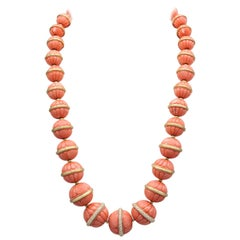 Henry Dunay Coral Diamond and 18 Karat Gold Necklace